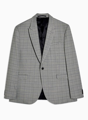 Topman BIG & TALL Grey Check Skinny Fit Single Breasted Suit Blazer With Peak Lapels*