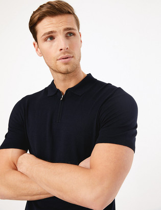 Marks and Spencer Silk Blend Zip Collar Knitted Polo Shirt
