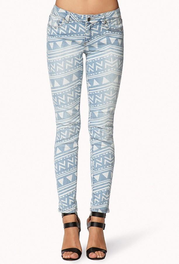 Forever 21 Tribal Print Skinny Jeans