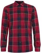 Topman Red and Black Check Long Sleeve Shirt