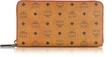 mcm color visetos cognac coated canvas zip around wallet