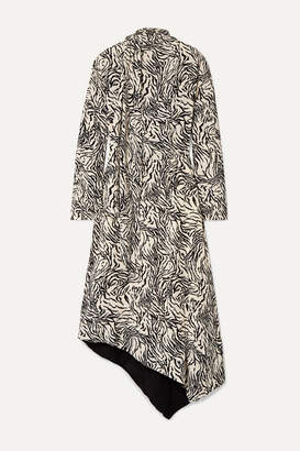 Proenza Schouler Asymmetric Printed Crepe Midi Dress - Off-white