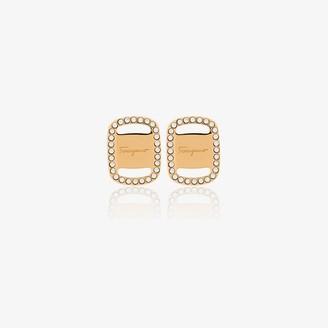 Salvatore Ferragamo gold tone Vara Plate logo earrings