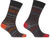 John Lewis Bright Fairisle Socks, Pack Of 2, Multi
