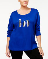 Karen Scott Plus Size Cotton Penguin Graphic Top, Created for Macy's