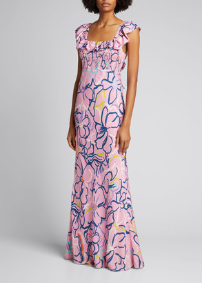 Tanya Taylor Jessa Long Ruffle-Trim Dress