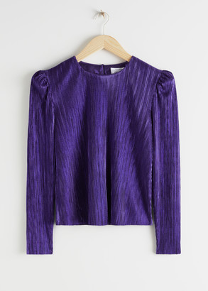 And other stories Metallic Plisse Puff Shoulder Blouse