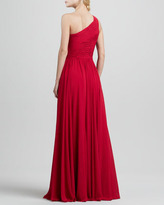 Halston One-Shoulder Ruched Gown