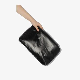 Kassl Editions black Oil faux leather clutch bag