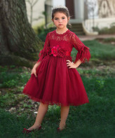 Scully Trish Child Girls' Special Occasion Dresses CRIMSON - Crimson Floral Lace-Overlay Ava A-Line Dress - Infant, Toddler & Girls