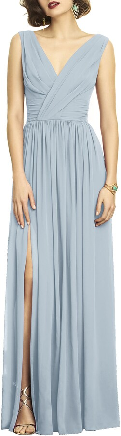 Dessy Collection Lux V-Neck Chiffon Gown