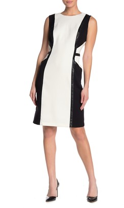 Taylor Double Faced Contrast Faux Leather Colorblock Dress