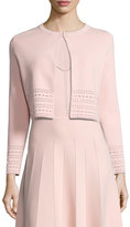Lela Rose Pointelle Knit Crop Cardigan, Light Pink