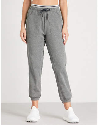 LNDR Womens Grey Marl Stripe Circuit Relaxed-Fit Stretch-Jersey Jogging Bottoms