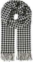 Dries Van Noten Ecru Tassel Expertly Constructed Checked Print Wool-cotton Blend Scarf