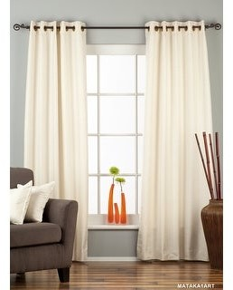 Indian Selections Cream Ring Top Matka Raw Silk Curtain / Drape / Panel - Piece