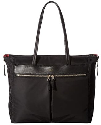 Knomo London Mayfair Grosvenor Place Expandable Top Zip Tote (Black) Tote Handbags