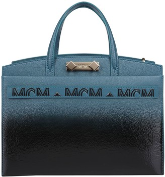 MCM Blue And Black Leather Tote Bag
