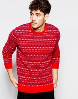 Jack Wills Fair Isle Jumper In Lambswool With Crew Neck In Red