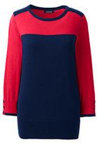 Lands' End Women's Petite Supima Cotton 3/4 Sleeve Colorblock Sweater-Crimson Dawn Colorblock