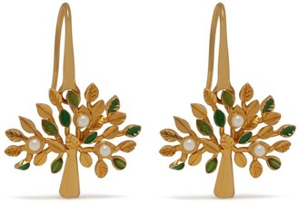 Mulberry Tree Dropped Earrings Gold and Green Brass and Synthetic Pearl