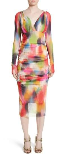 Fuzzi Brushstroke Print Tulle Ruched Dress