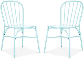 One Kings Lane Set of 2 Everleigh Outdoor Side Chairs - Baby Blue