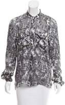 Thom Browne Silk Leaf Patterned Blouse