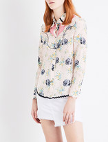 Coach Ladies Pale Pink Contrast Iconic Western Silk Shirt