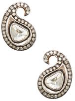 Artisan 18K Gold & 1.30 Total Ct. Rosecut Diamond Paisley Stud Earrings