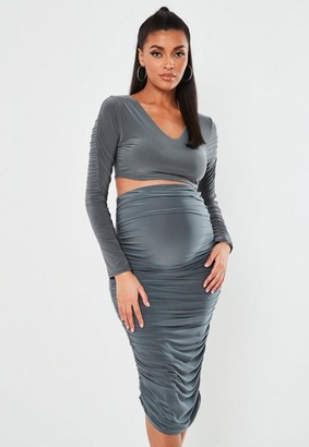 Missguided Gray Slinky Ruched Sleeve Maternity Crop Top