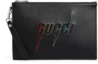 Gucci Leather Embroidered Logo Pouch