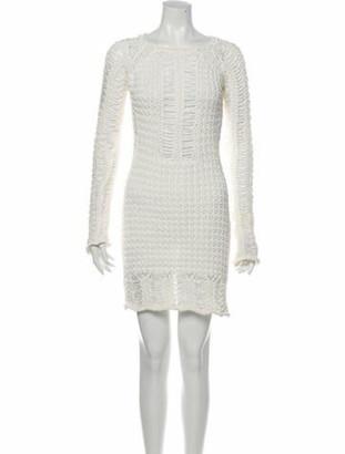 Balmain Patterned Mini Dress White