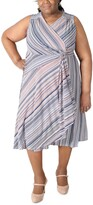 Thumbnail for your product : Robbie Bee Plus Size Striped Gathered-Waist Dress