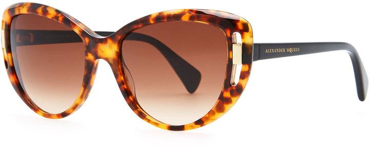 Alexander McQueen McQueen Cat-Eye Frames, Havana/Black
