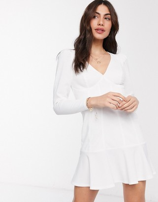 ASOS DESIGN fitted long sleeve mini dress with seam detail and peplum hem in ivory