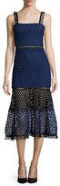 Alexis Erin Bicolor Crochet & Lace Midi Dress, Black/Navy