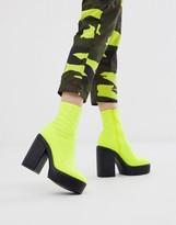 Asos Design DESIGN Electrics neoprene platform sock boots in neon yellow