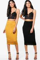 boohoo Gracie 2 Pack Basic Jersey Midi Skirt