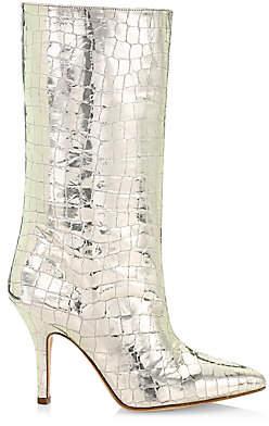 Paris Texas Women's Metallic Croc-Embossed Leather Mid-Calf Boots