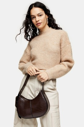 Topshop Camel Super Crop Brushed Knitted Jumper