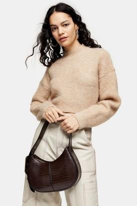 Topshop Womens Camel Super Crop Brushed Knitted Jumper - Camel