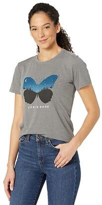 Life is Good Celestial Butterfly Cool Vee (Slate Grey) Women's T Shirt