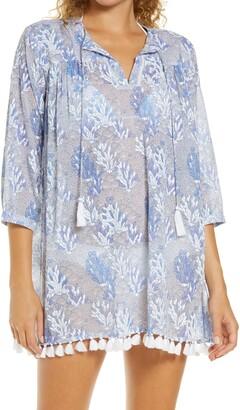 Roller Rabbit Serafina Ugyen Leaves Cover-Up Tunic Dress