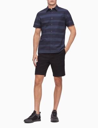 Tonal Stripe Button-Down Short Sleeve Shirt
