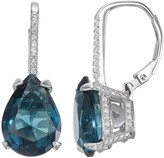 Sterling Silver Simulated Gemstone Teardrop Leverback Earrings