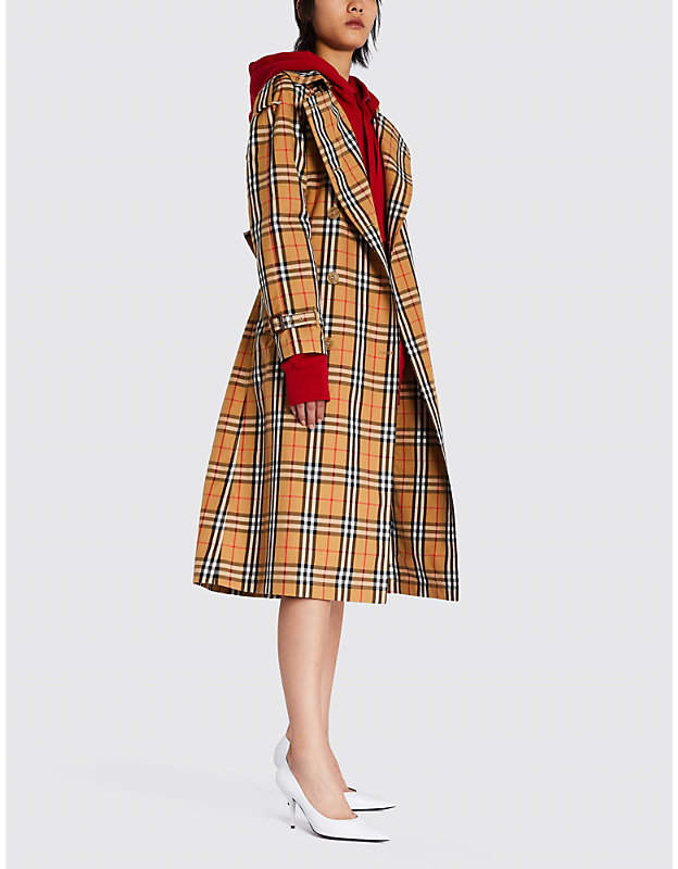 Burberry Checked cotton-twill trench coat