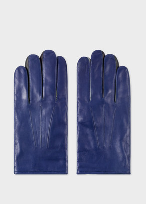 Paul Smith Men's Cobalt Blue Leather Concertina Gloves