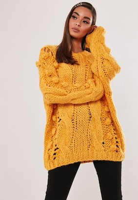 Missguided Mustard Bobble Cable Knit Jumper