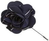 The Tie Bar Classic Navy Pencil Pinstripe Lapel Flower Pin